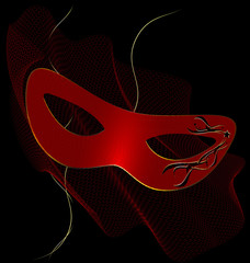 red carnival half-mask and veil