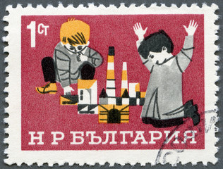 BULGARIA - 1966: shows Children with Building Blocks, Children's