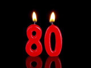 Birthday-anniversary candles showing Nr. 80