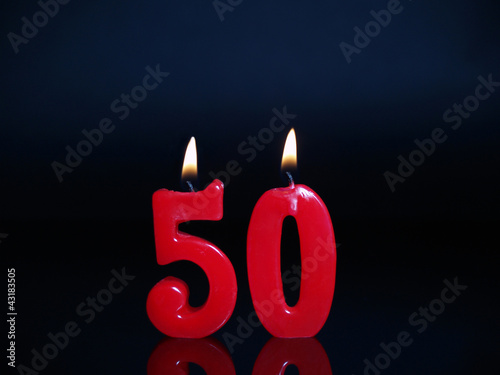 Birthday-anniversary candles showing Nr. 50