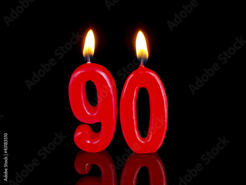 Birthday-anniversary candles showing Nr. 90