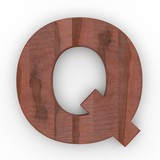 3d Font Wood Apple Letter Q