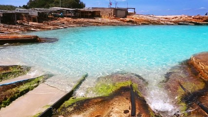 Formentera Es Calo port with turquoise beach
