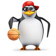 3d Penguin in baseball cap bounces basketball