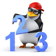 3d Penguin in baseball cap 123 Numbers