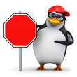 3d Penguin in baseball cap with blank road sign