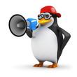 3d Penguin in baseball cap with megaphone