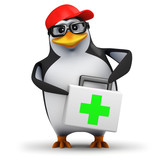 3d Penguin in baseball cap with first aid kit