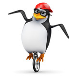 3d Penguin in baseball cap rides unicycle