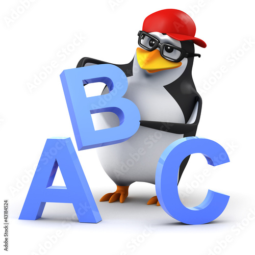 3d Penguin in baseball cap with ABC Alphabet