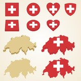 Switzerland Map, Vector 3D pack of Switzerland and flag