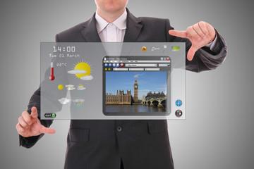 Digital world concept graphic, presentation futuristic interface