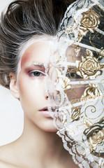 Pretty woman - transparent vintage fan - retro beauty style