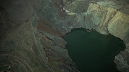 Aerial vertical view of a large salt  quarry  USA
