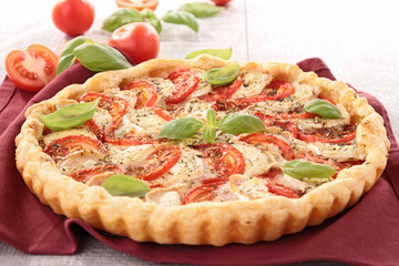 tomato, cheese and basil tart
