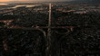 Aerial sunset view of traffic congestion, USA