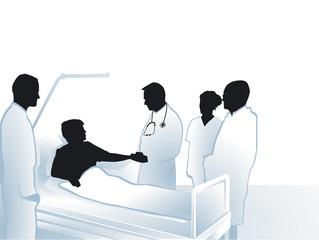 Ärzte und Pfleger mit Patient im Krankenhaus