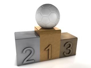 podio olimpico con balón de fútbol
