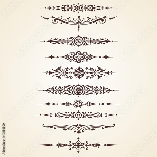 Vintage decorative ornaments text dividers set
