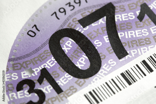 canvas print picture UK road tax disc