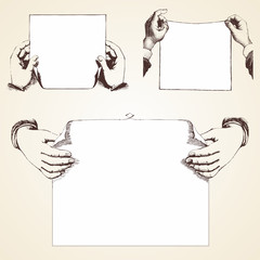 Set of Vintage Hands holding blank paper