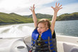 Travel of children on water in the boat - 43186788