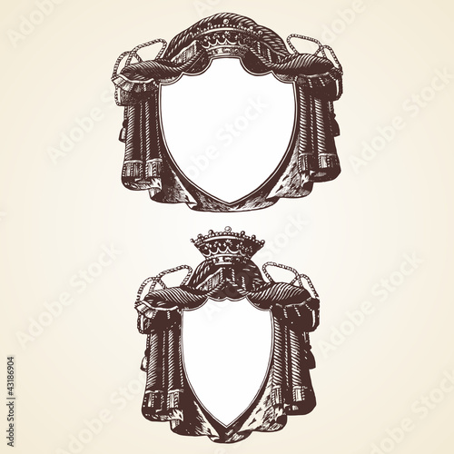 Royal decorative ornament vector frames two set