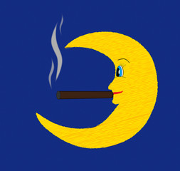 Happy fun moon smoking cigar vector illustration on blue dark sk