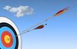 Leinwandbild Motiv archery, target and arrow, bull's eye, hitting center
