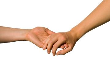 Eine Hand unterstützt die andere
