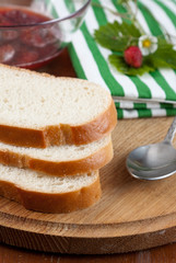 Slices of crusty white bread
