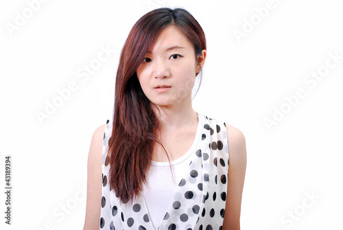 Asian girl with polka dot dress_3