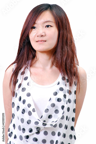 Asian girl with polka dot dress_1