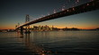 Aerial sunset view of Oakland Bay Bridge, San Francisco, USA