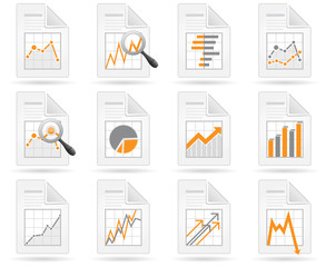 Statistics and analytics file icons