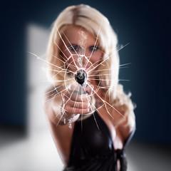 sexy girl holding gun