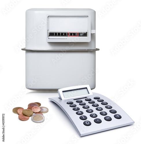 Gaszähler mit Münzen