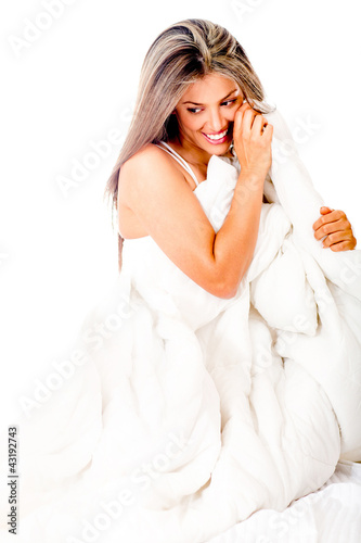 Woman wrapped in a duvet