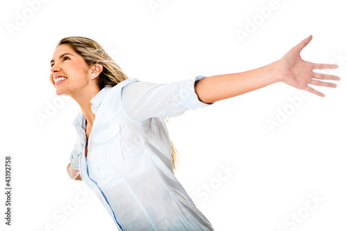 Happy woman with arms open