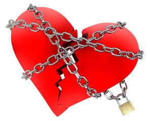 Red Broken Heart, wrapped in chain