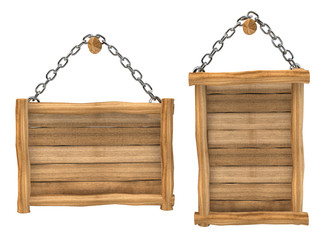 Empty wooden board sign hanging, chain, isolated
