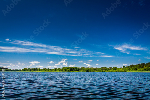 Blue lake and clear sky in summer