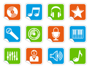 Audio and Music icons on stickers