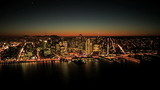 Aerial sunset view of Fishermans Wharf and San Francisco, USA