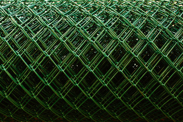 Close Up Green Plastic Coated and Rolled Chainlink Fence Wire