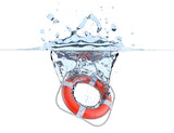 Lifebuoy in water splash