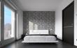 moderna camera da letto con tappezzeria