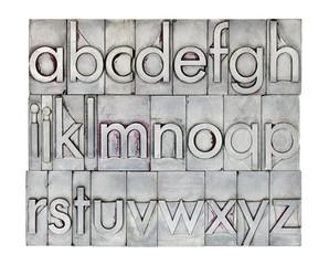 English alphabet in metal type