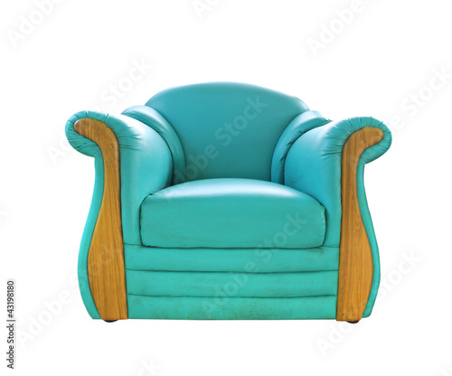 old green leather sofa isolated on white