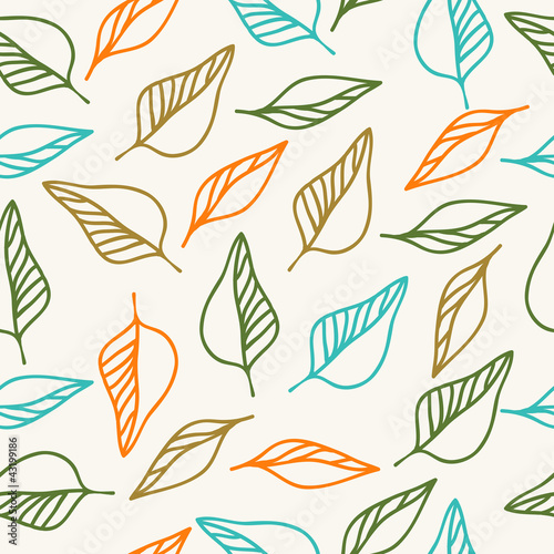 Tuinposter Abstract bloemen Seamless floral pattern with leaves